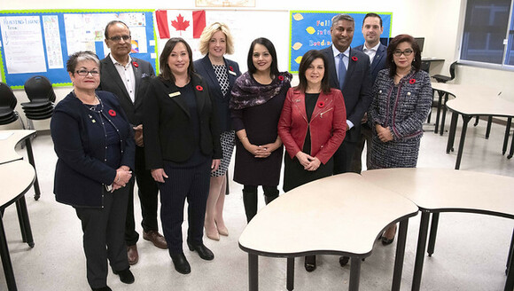 Minister LaGrange, Minister Panda and Minister Sawhney announce provincial school capital funding at Nose Creek School in Calgary.